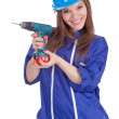 Young woman worker with drill — Stock Photo