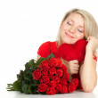 Young woman with hearh and roses — Stock Photo #6160236