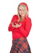 Mujer con manzana — Foto de Stock