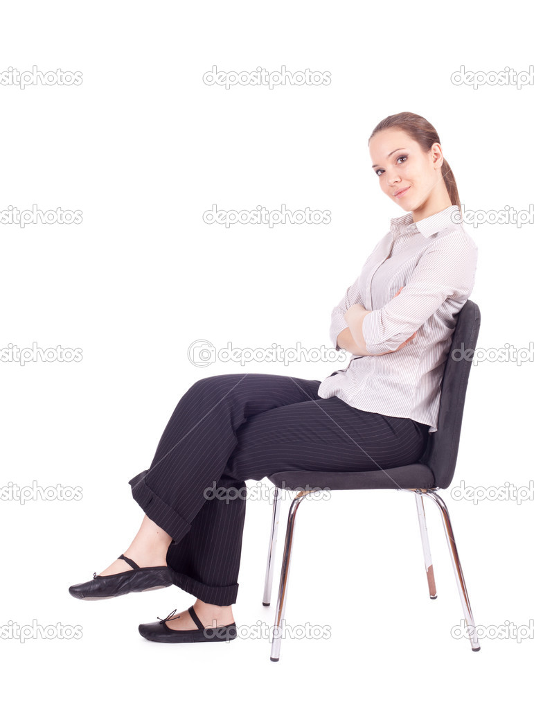 Girl Sitting On Chair Stock Image
