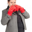Fat bsinesswoman in boxing gloves — Stock Photo