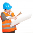 Fat female architect or engineer, series — Stock Photo