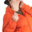 Fat girl in headphones with mp3 player — Stock Photo #6177759