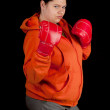 Fat woman in boxing gloves — Stock Photo #6177886