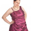 Fat woman in ball dress — Stock Photo