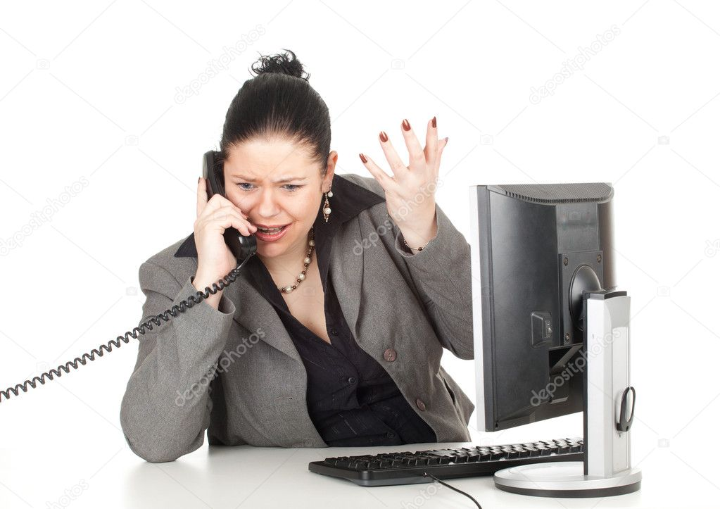 Calling angry fat businesswoman with computer, series — Stock Photo #6177141