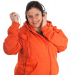Royalty-Free Stock Photo: Fat girl in headphones with mp3 player