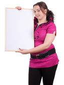 Fat girl with blank sign, billboard — Stock Photo