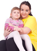 Little girl with fat mother — Stock Photo