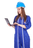 Young woman worker with laptop — Stock Photo
