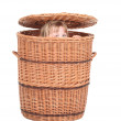 Little girl in wicker container — Stock Photo #6559338