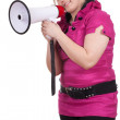 Young fat girl with megaphone — Stock Photo