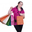 Fat girl with shopping bags — Stock Photo #6560061
