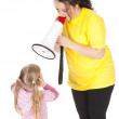Stock Photo: Little girl and screaming fat mother