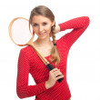 Girl with badminton rackets — Stock Photo