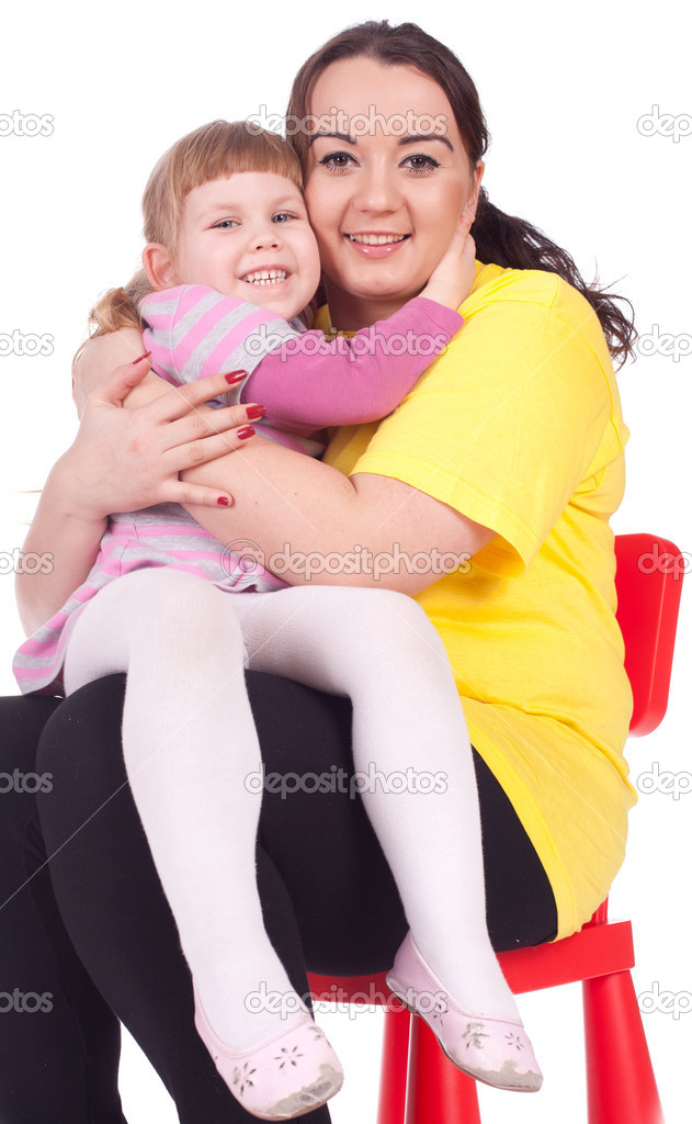 Little blond hair girl with her fat mother  — Stock Photo #6560557