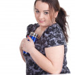 Fat girl with mug — Stock Photo