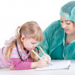 Stock Photo: Little girl at fat doctor