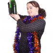 Fat girl with bottle of champagne — Stock Photo