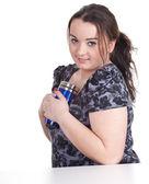 Fat girl with mug — Stock Photo