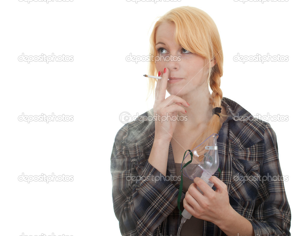 Inhalation young smoking woman keeping inhale mask, isolated   Stock Photo #6629487