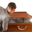 Halloween joke, man with coffin — Fotografia Stock  #6630258
