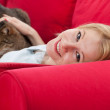 Young woman with cat — Stock Photo