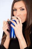 Drinking woman — Stock Photo