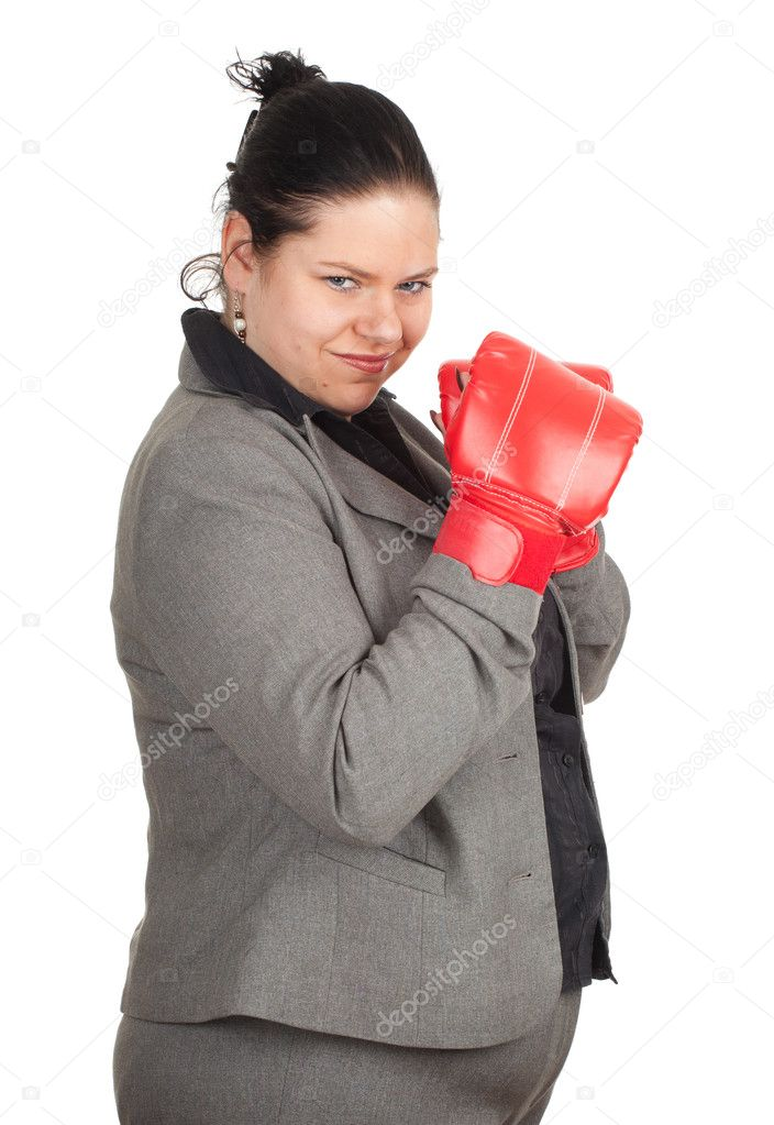 Overweight, fat businesswoman in pair of boxing gloves, series — Stock Photo #6630989