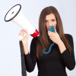 Young woman with megaphone — Stock Photo #6686568