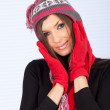 Young woman in winter hat — Stock Photo