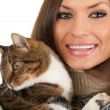 Stock Photo: Young woman with cat