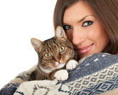 Young woman with cat — Foto de Stock