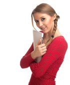 Young woman with clipboard — Stockfoto