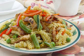 Pasta with pork meat and vegetables — Stock Photo