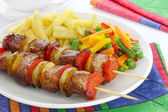 Fried skewers — Stock Photo