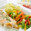 Chicken breast with vegetables — Stock Photo
