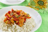 Chicken with rice and vegetables — Stock Photo