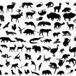 Silhouettes of animals — 图库矢量图片