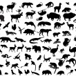 Silhouettes of animals — Stock Vector