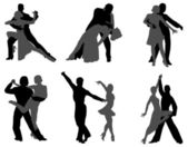Dancing couples — Stock Vector