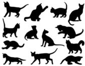 Silhouettes of cats — Vettoriale Stock