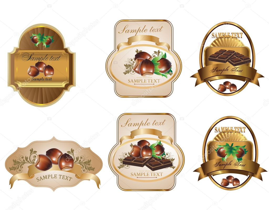 Labels with nuts — Stock Vector #5398834
