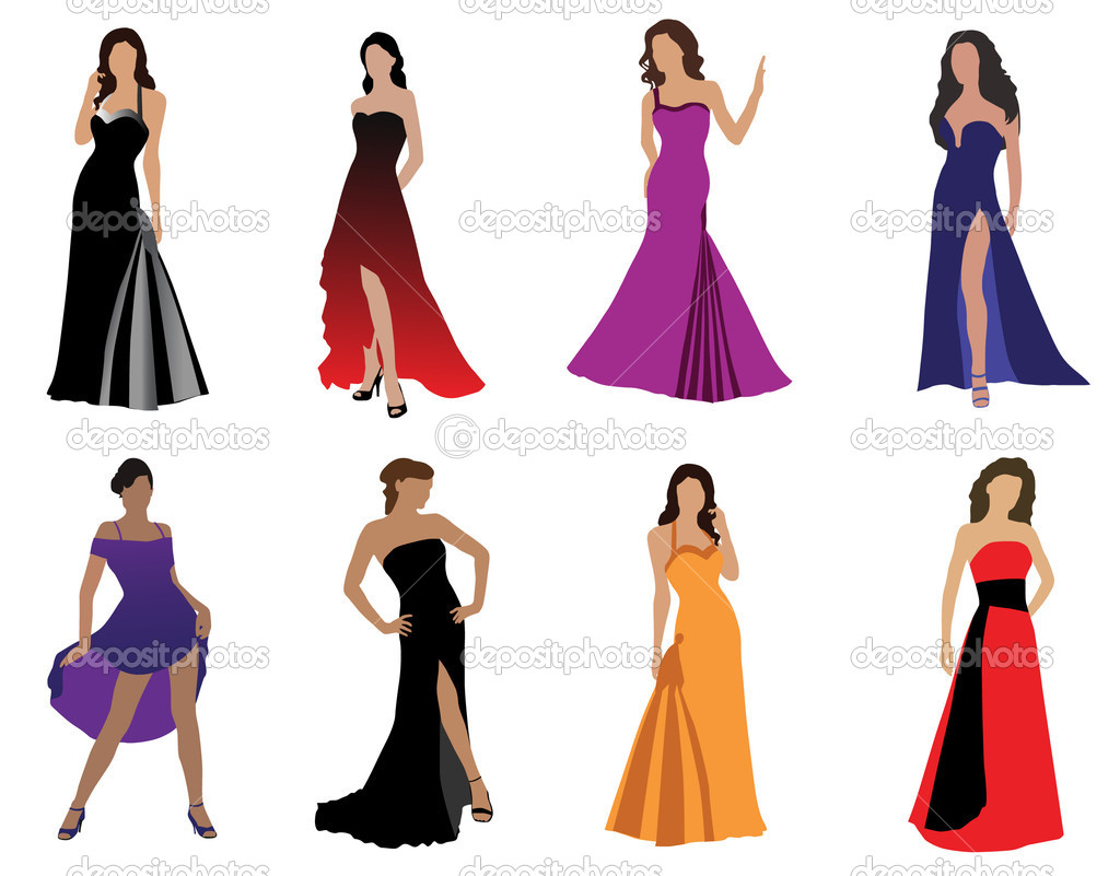 Download woman in beautiful dress stock illustration 5399098