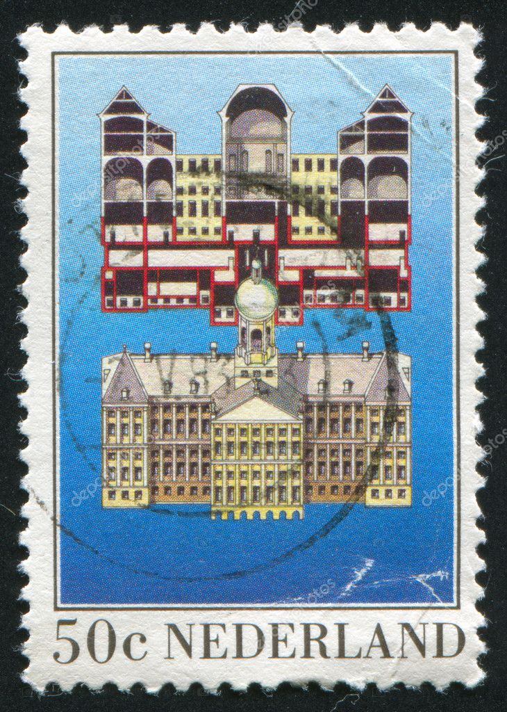 NETHERLANDS - CIRCA 1982: stamp printed by Netherlands, shows Royal Palace, Dam Square, Amsterdam, circa 1982 — Stock Photo #6085312