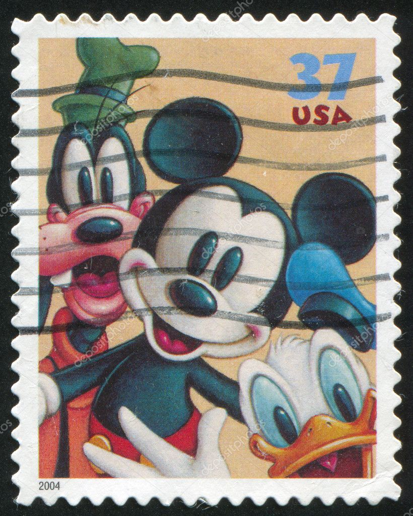 UNITED STATES - CIRCA 2004: stamp printed by United states, shows cartoon, Disney Characters, Goofy, Mickey Mouse, Donald Duck, circa 2004 — Stock Photo #6107376