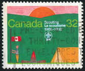 CANADA - CIRCA 1983: stamp printed by Canada, shows Scouting Year, circa 1983 — ストック写真