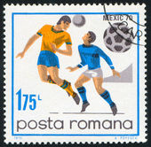 Poststamp football — Stock Photo