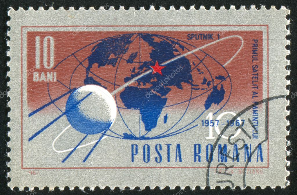 ROMANIA - CIRCA 1967: stamp printed by Romania, shows Trajectory of Sputnik 1 around globe, circa 1967  Stock Photo #6589968