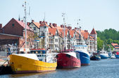 Fishing boats in the port — Stock Photo